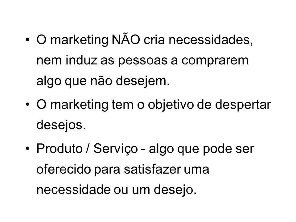 O marketing NÃO cria necessidades, nem induz as pessoas a comprarem algo que não desejem.