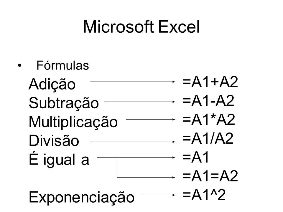 Microsoft Excel =A1+A2 Adição =A1-A2 Subtração =A1*A2 Multiplicação