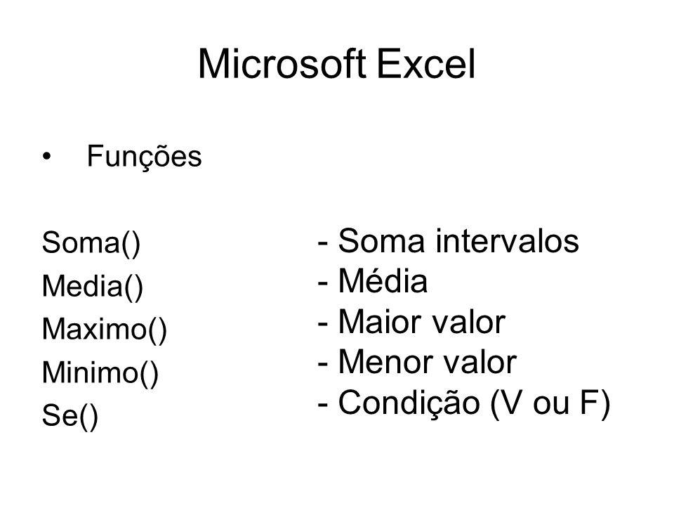 Microsoft Excel - Soma intervalos - Média - Maior valor Menor valor