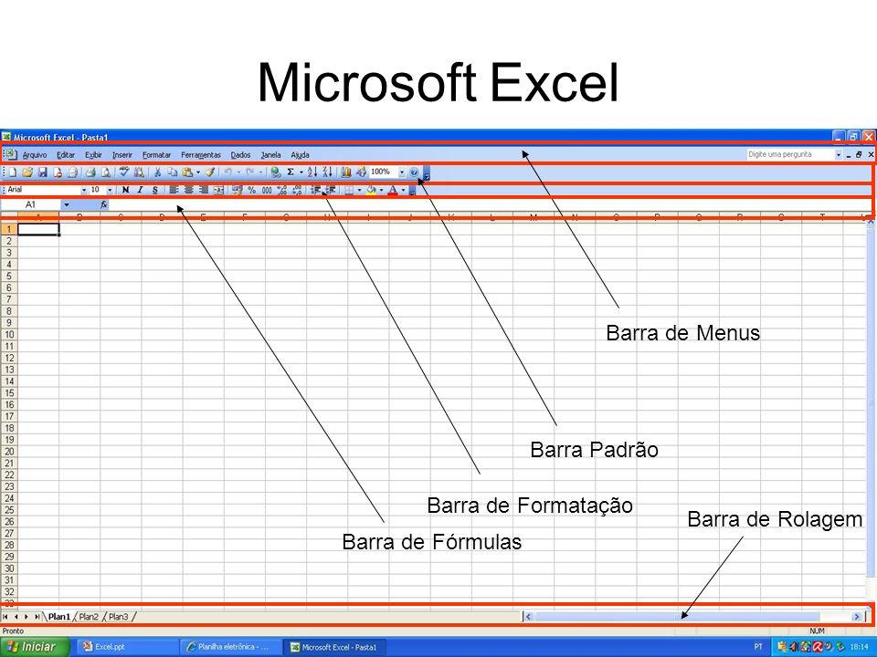 Microsoft Excel Barra de Menus Barra Padrão Barra de Formatação