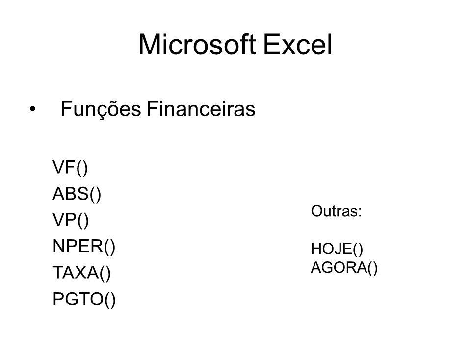 Microsoft Excel Funções Financeiras VF() ABS() VP() NPER() TAXA()