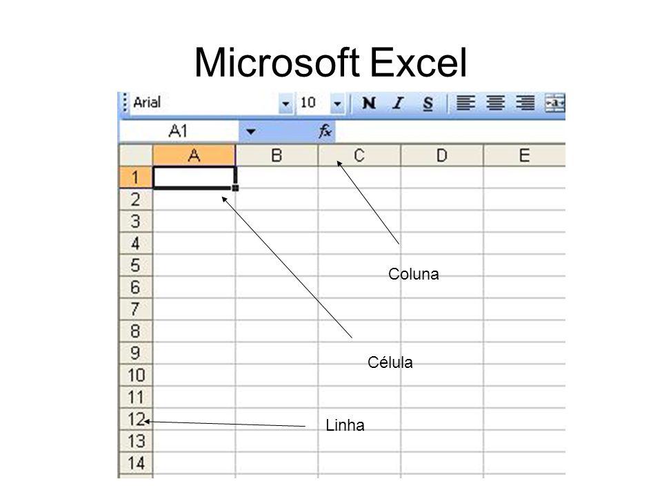 Microsoft Excel Coluna Célula Linha