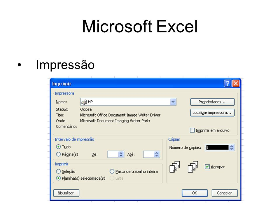 Microsoft Excel Impressão