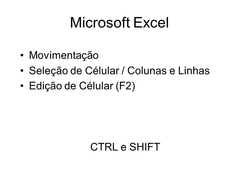Microsoft Excel Movimentação Seleção de Célular / Colunas e Linhas