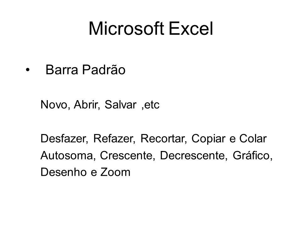 Microsoft Excel Barra Padrão Novo, Abrir, Salvar ,etc
