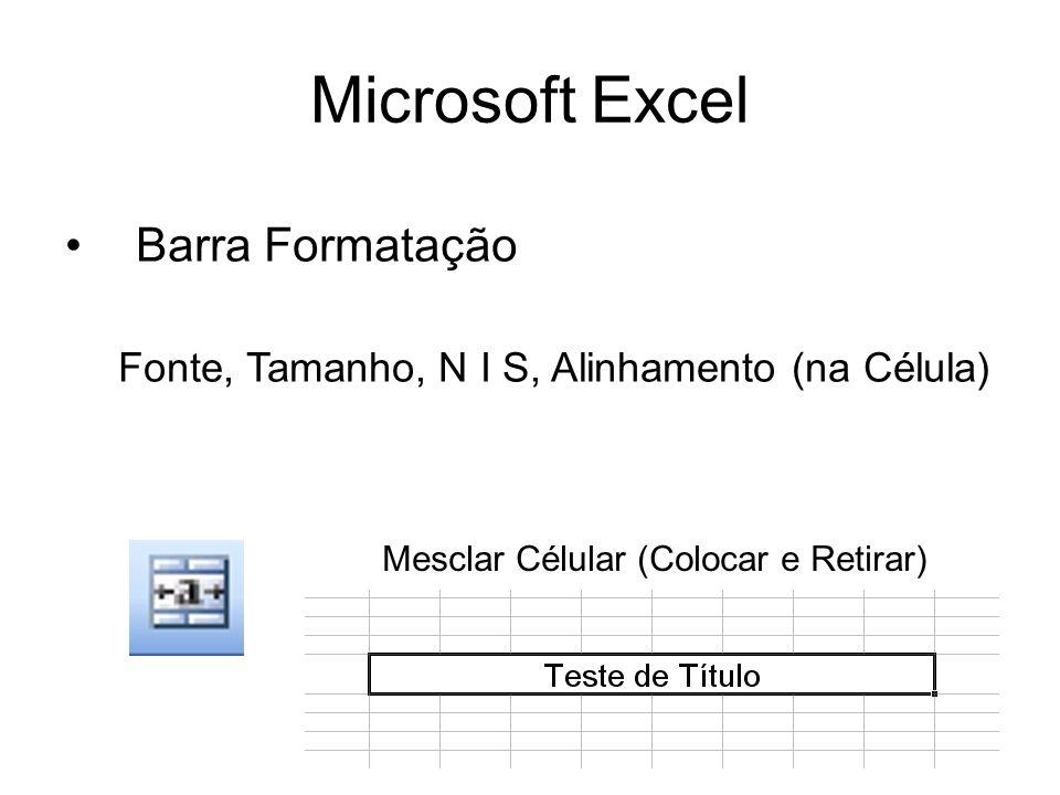 Microsoft Excel Barra Formatação