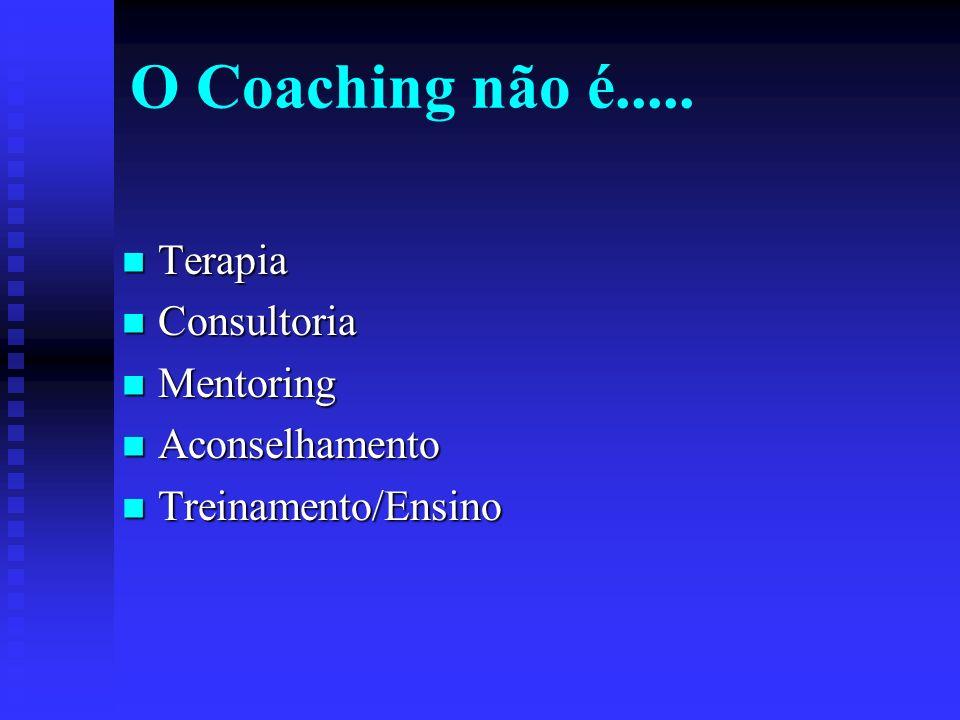 O Coaching não é..... Terapia Consultoria Mentoring Aconselhamento