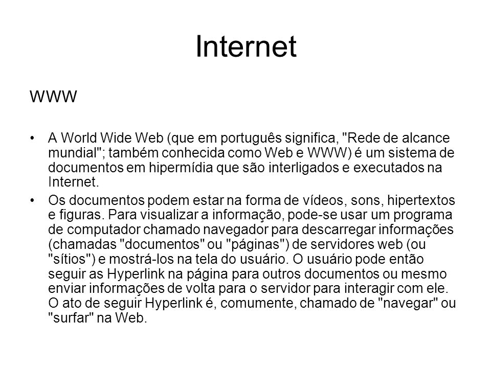 Internet WWW.