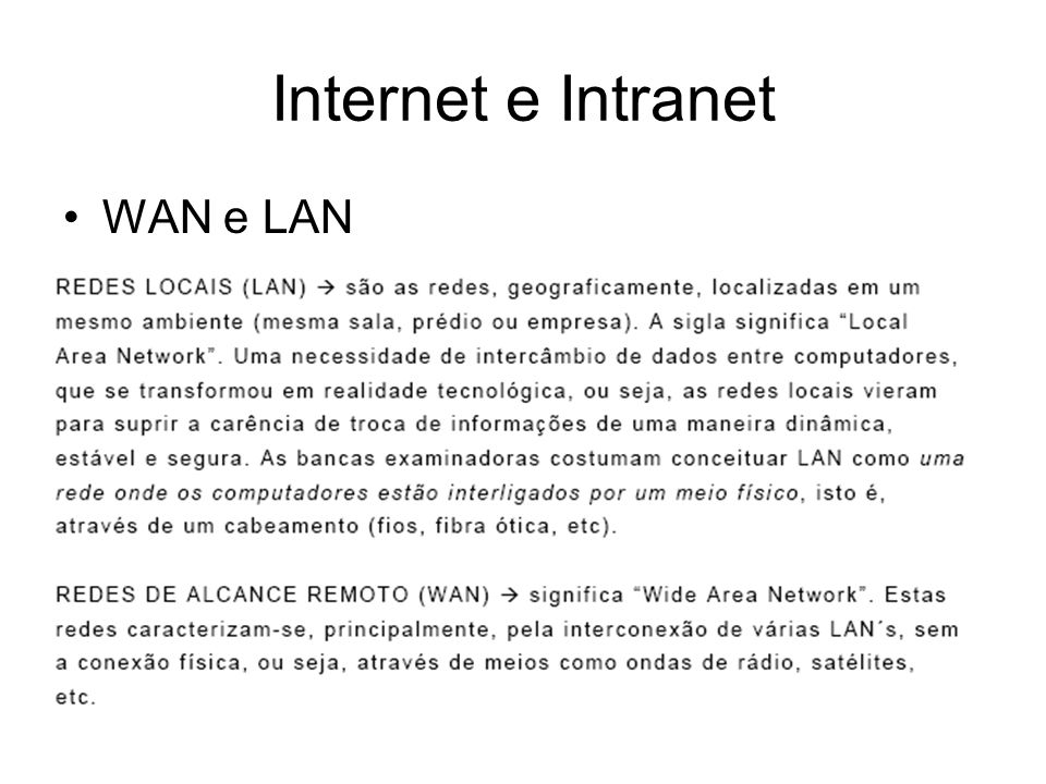 Internet e Intranet WAN e LAN