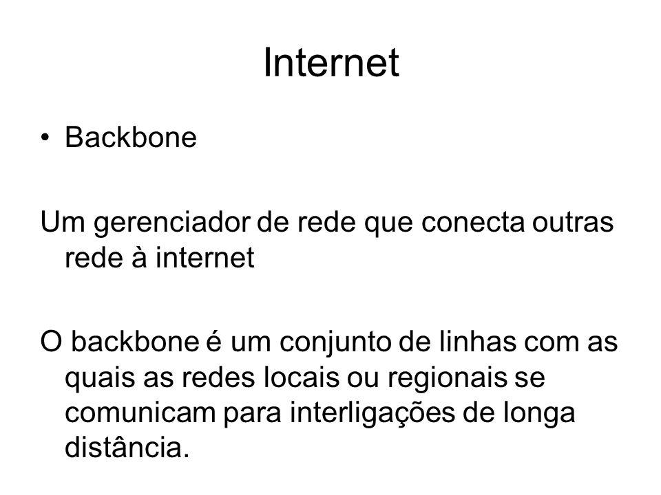 Internet Backbone. Um gerenciador de rede que conecta outras rede à internet.
