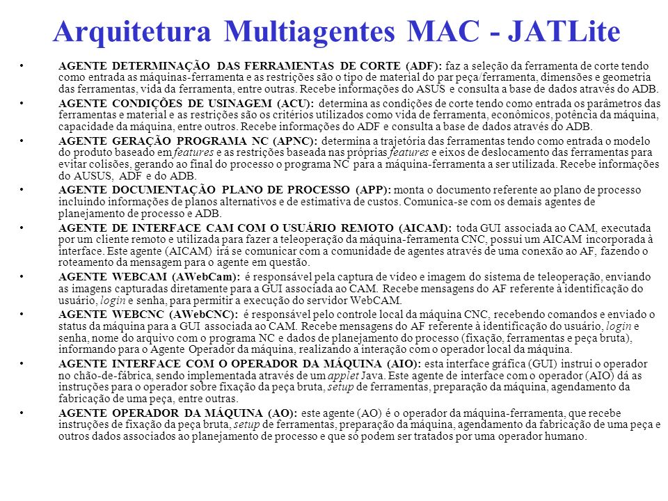 Arquitetura Multiagentes MAC - JATLite