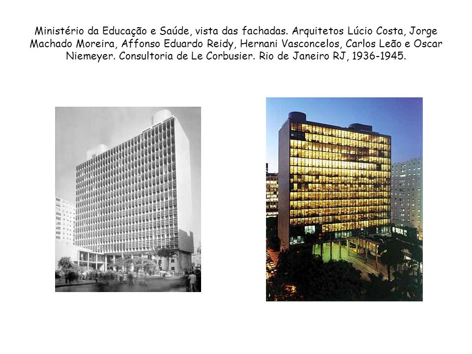 Ministério da Educação e Saúde, vista das fachadas