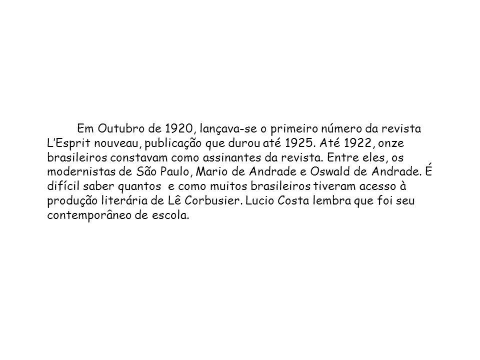 Em Outubro de 1920, lançava-se o primeiro número da revista L'Esprit nouveau, publicação que durou até 1925.