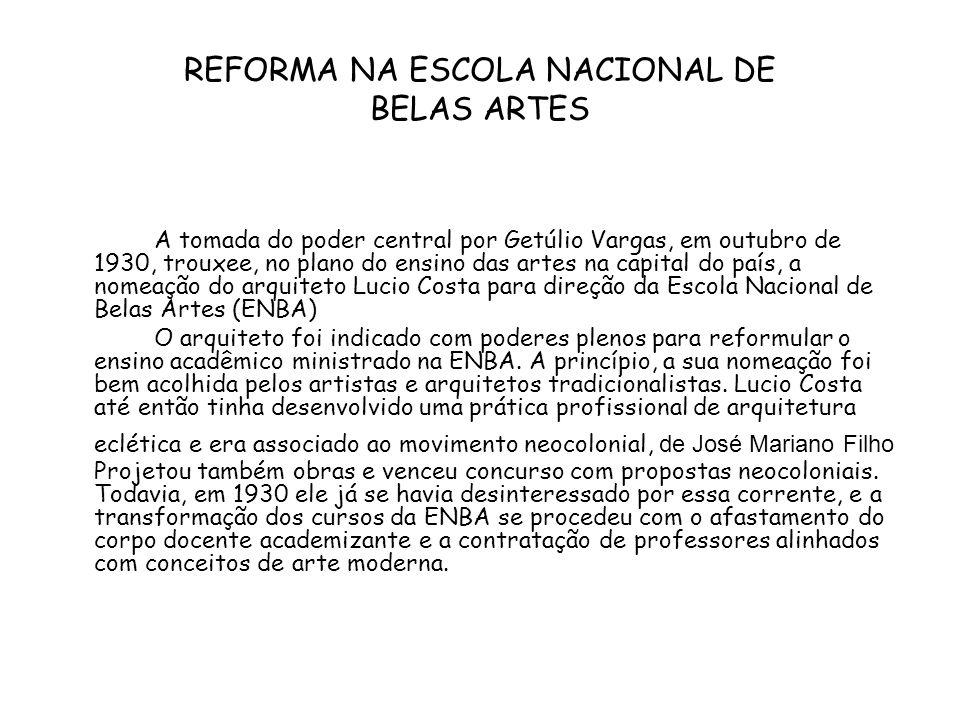 REFORMA NA ESCOLA NACIONAL DE BELAS ARTES