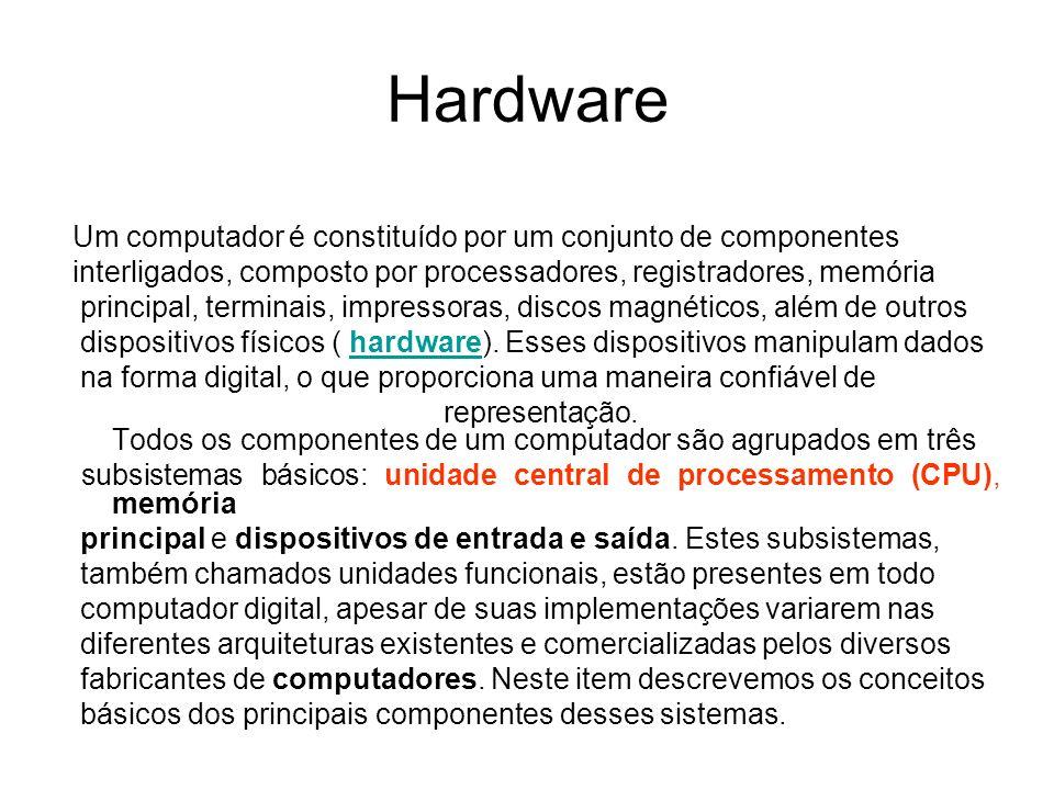 Hardware Um computador é constituído por um conjunto de componentes