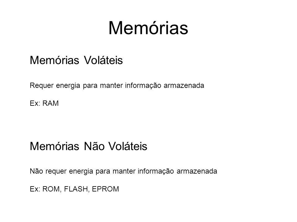 Memórias Memórias Voláteis Memórias Não Voláteis