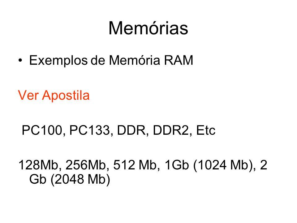 Memórias Exemplos de Memória RAM Ver Apostila