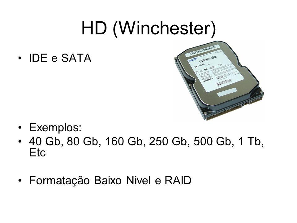 HD (Winchester) IDE e SATA Exemplos: