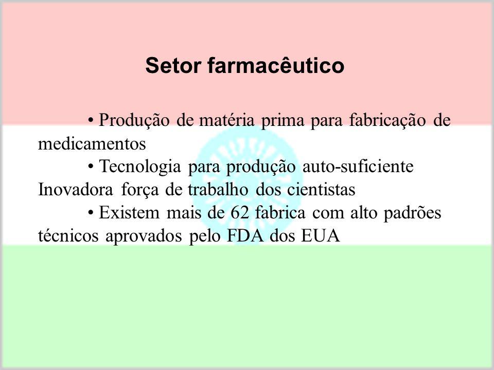 • Produção de matéria prima para fabricação de medicamentos