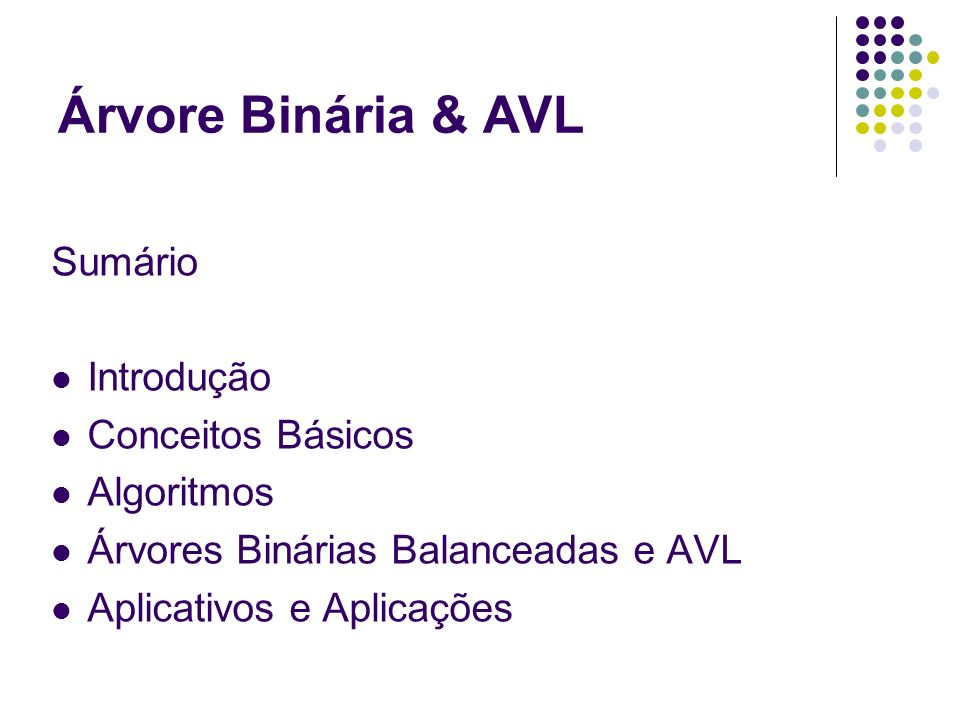 Árvore Binária & AVL Sumário Introdução Conceitos Básicos Algoritmos