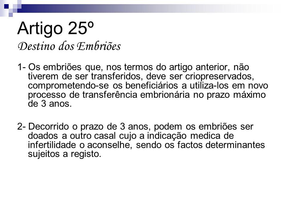 Artigo 25º Destino dos Embriões