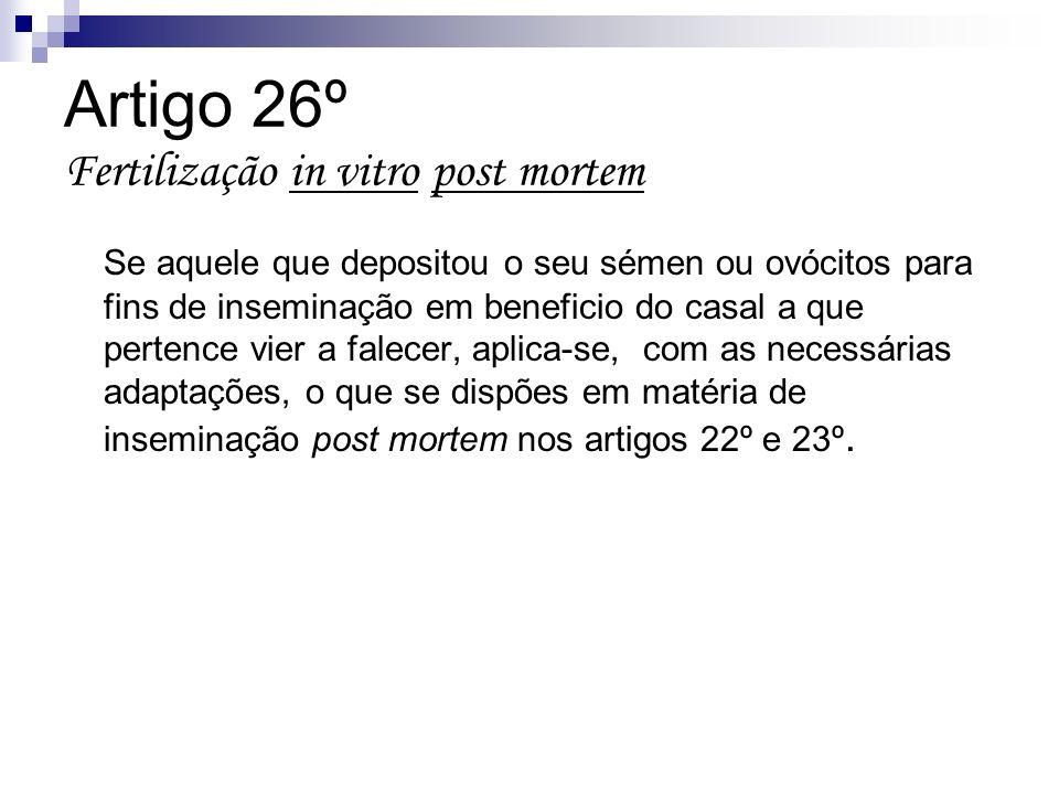 Artigo 26º Fertilização in vitro post mortem