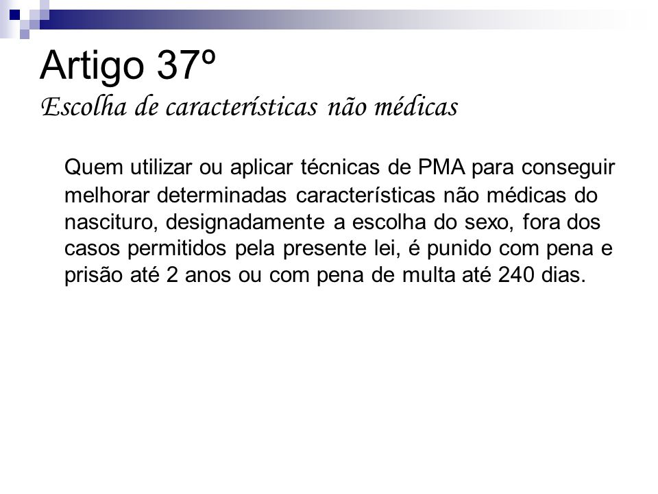 Artigo 37º Escolha de características não médicas