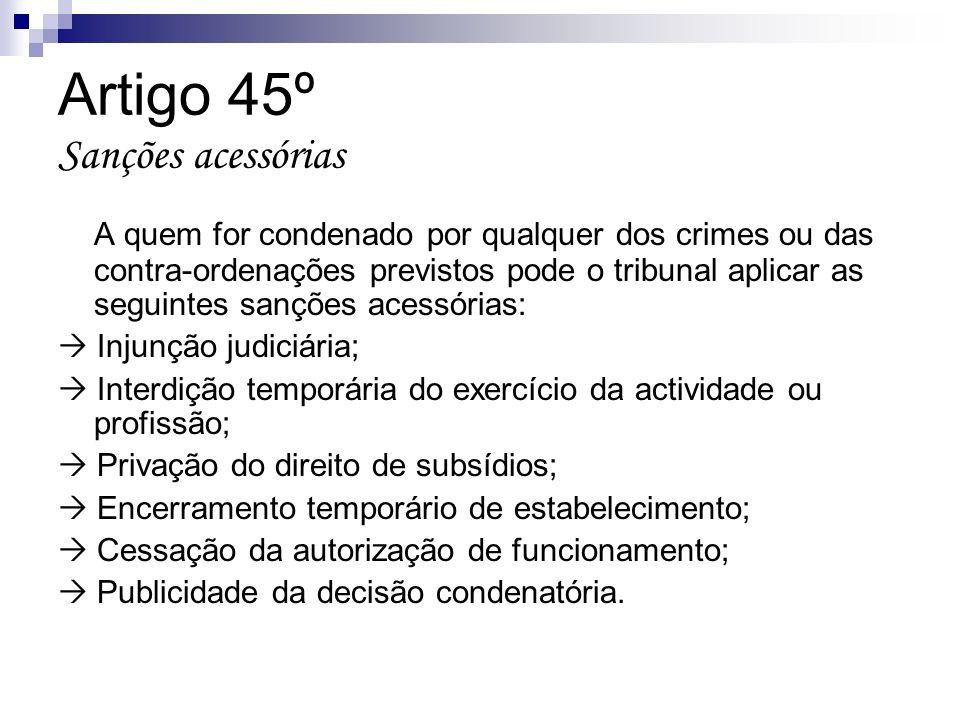 Artigo 45º Sanções acessórias