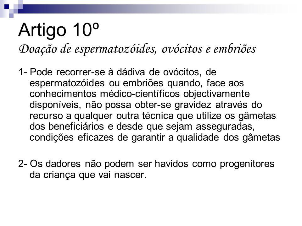 Artigo 10º Doação de espermatozóides, ovócitos e embriões