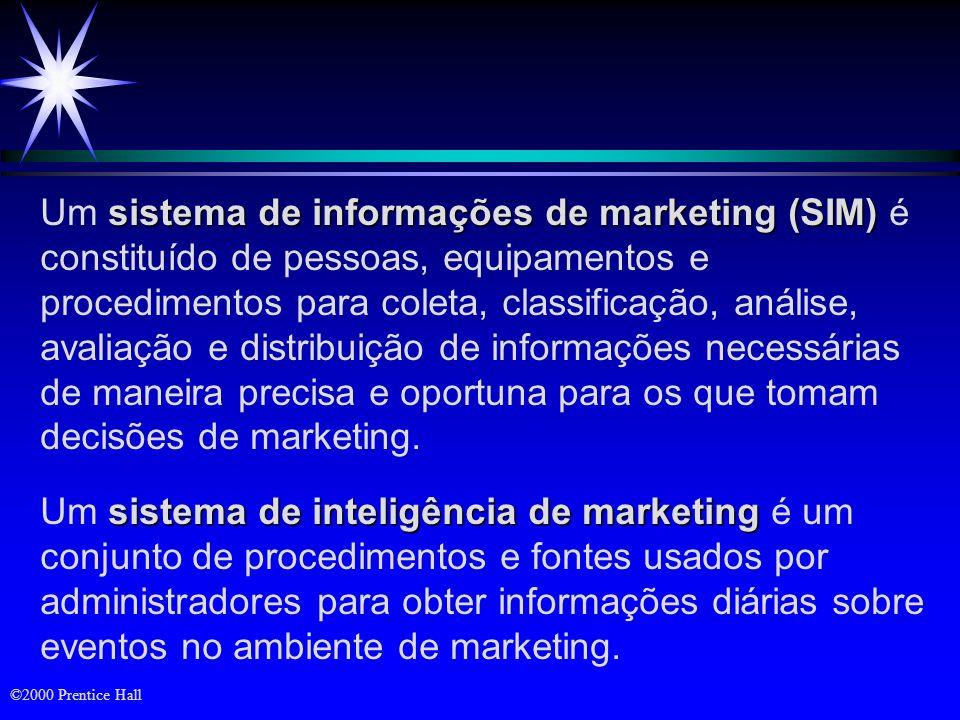 Um sistema de informações de marketing (SIM) é constituído de pessoas, equipamentos e procedimentos para coleta, classificação, análise, avaliação e distribuição de informações necessárias de maneira precisa e oportuna para os que tomam decisões de marketing.
