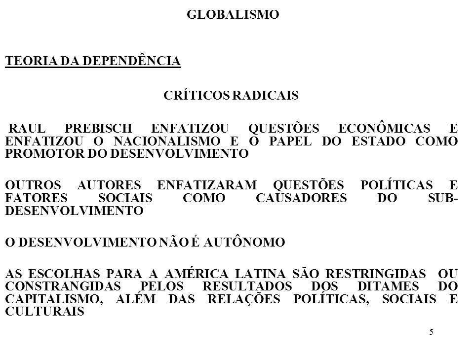 GLOBALISMO TEORIA DA DEPENDÊNCIA. CRÍTICOS RADICAIS.