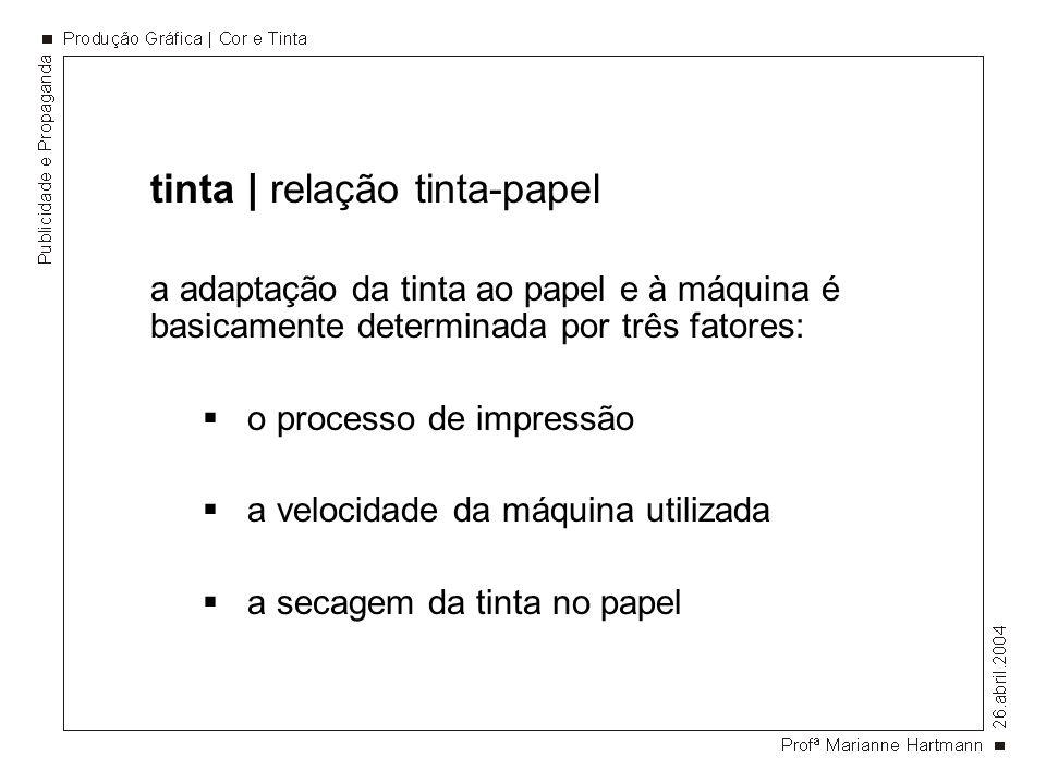 tinta | relação tinta-papel