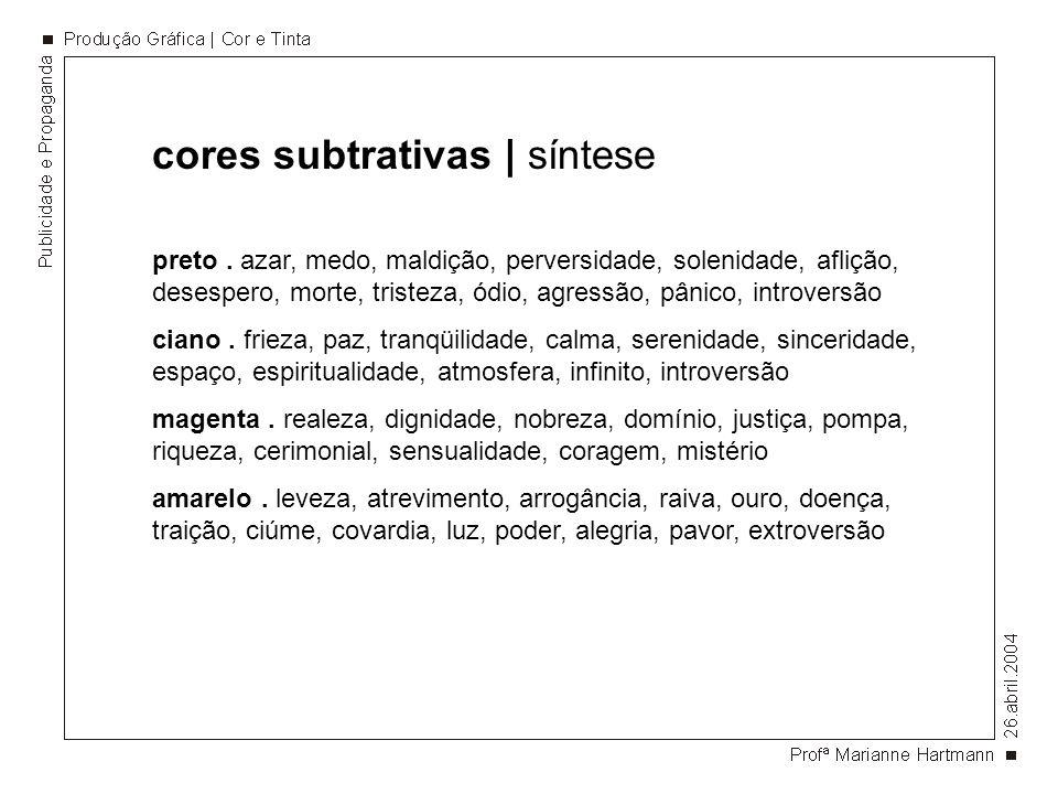 cores subtrativas | síntese