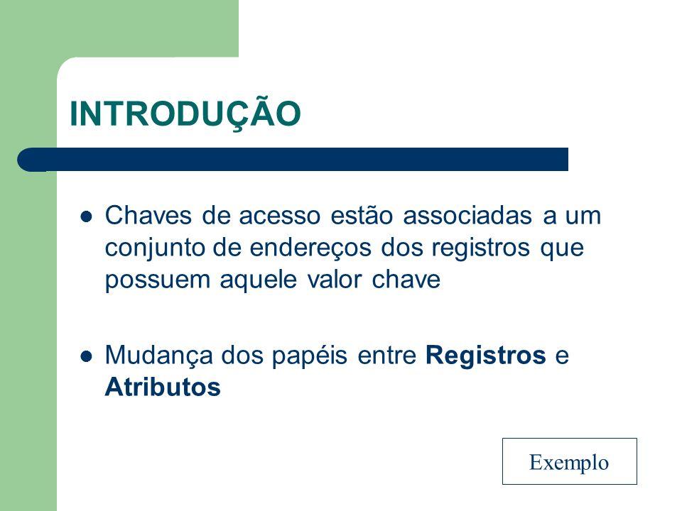 INTRODUÇÃO Chaves de acesso estão associadas a um conjunto de endereços dos registros que possuem aquele valor chave.
