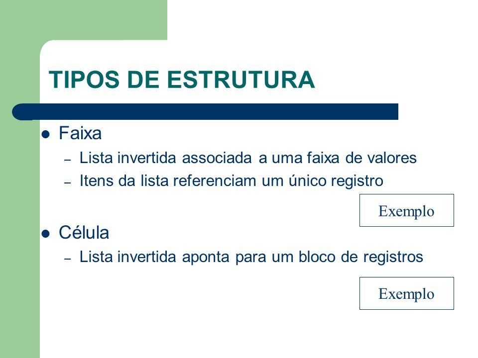 TIPOS DE ESTRUTURA Faixa Célula