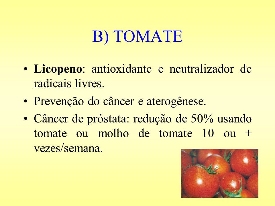B) TOMATE Licopeno: antioxidante e neutralizador de radicais livres.