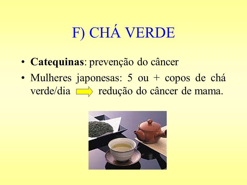 F) CHÁ VERDE Catequinas: prevenção do câncer