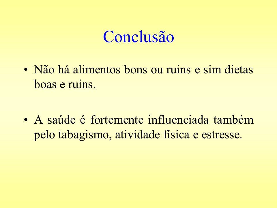Conclusão Não há alimentos bons ou ruins e sim dietas boas e ruins.