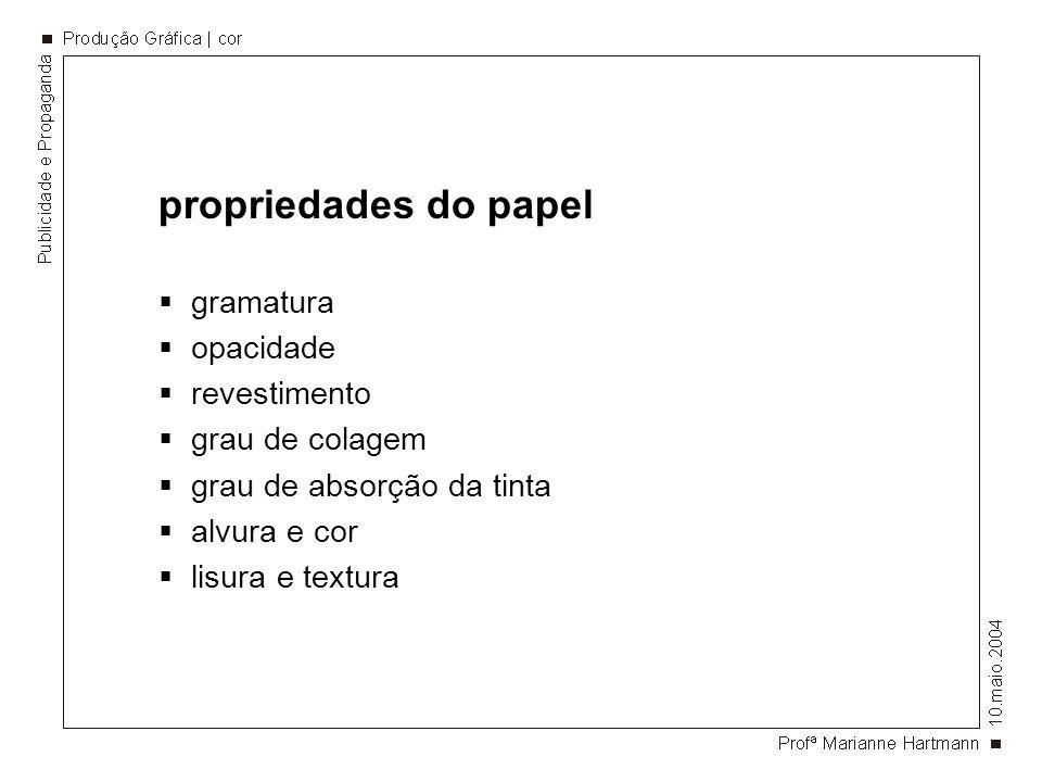 propriedades do papel gramatura opacidade revestimento grau de colagem