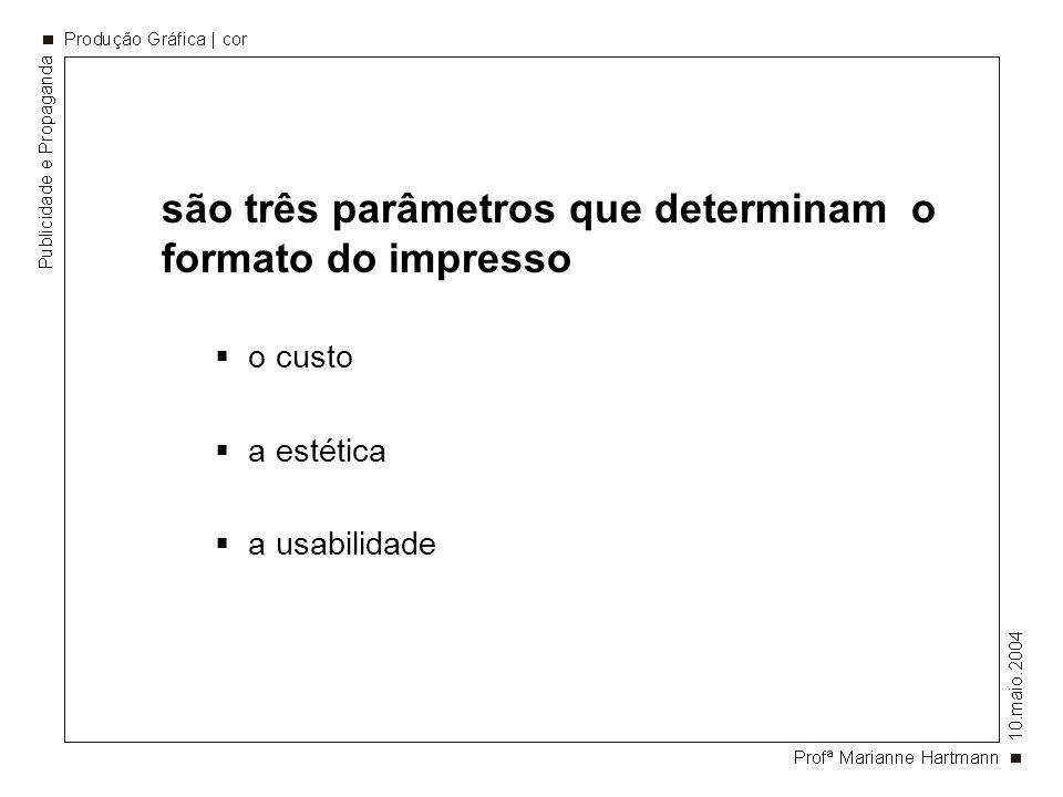 são três parâmetros que determinam o formato do impresso