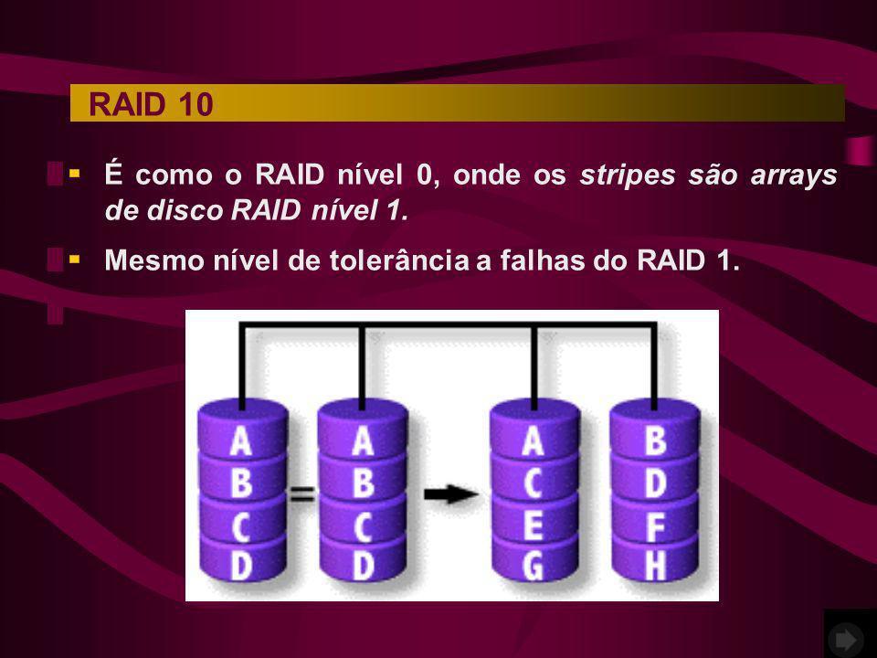 RAID 10 É como o RAID nível 0, onde os stripes são arrays de disco RAID nível 1.