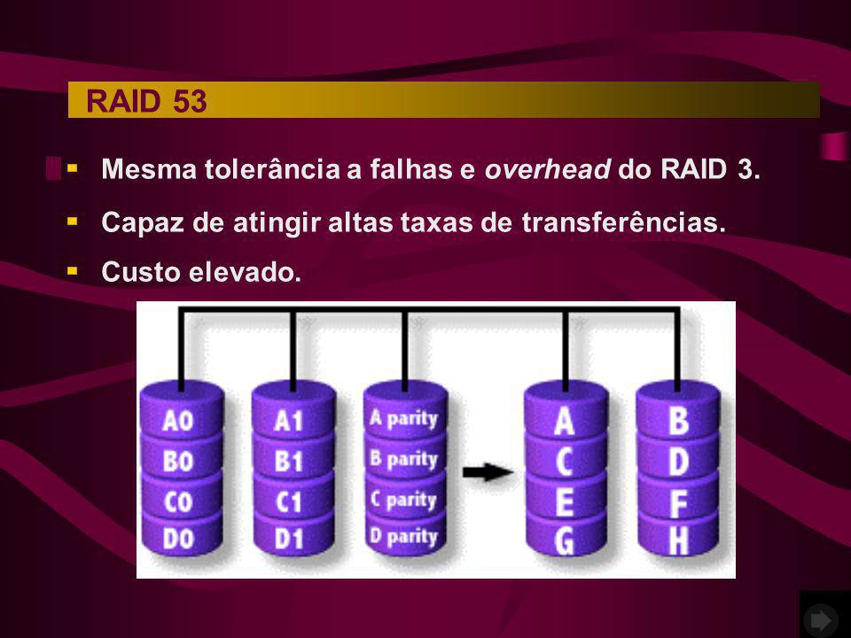 RAID 53 Mesma tolerância a falhas e overhead do RAID 3.