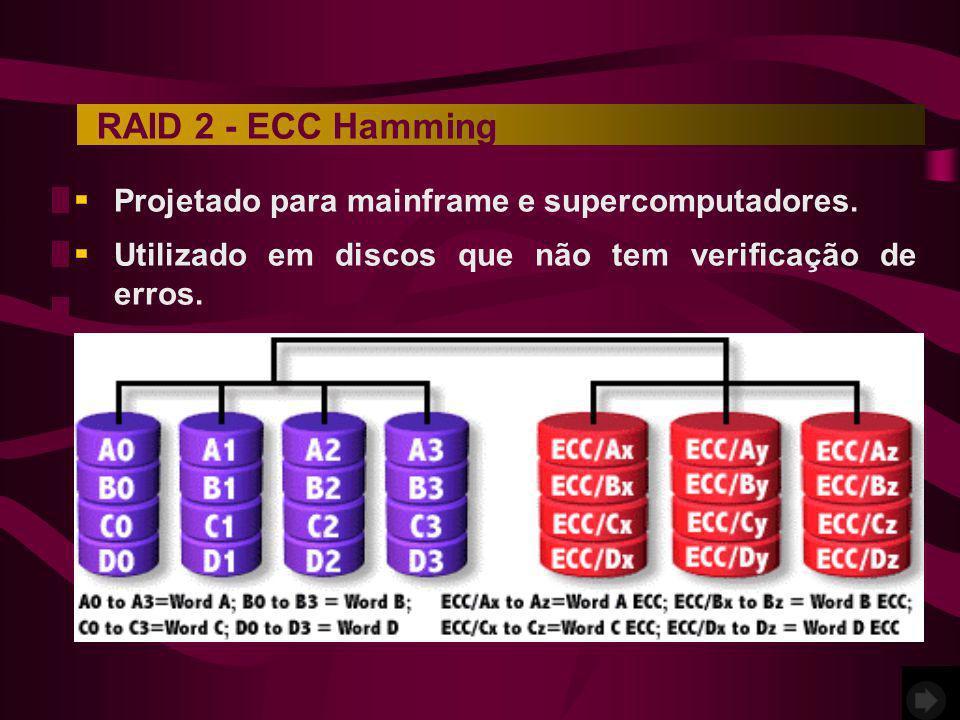 RAID 2 - ECC Hamming Projetado para mainframe e supercomputadores.