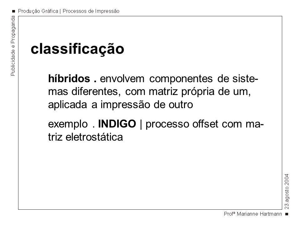 classificaçãohíbridos . envolvem componentes de siste-mas diferentes, com matriz própria de um, aplicada a impressão de outro.