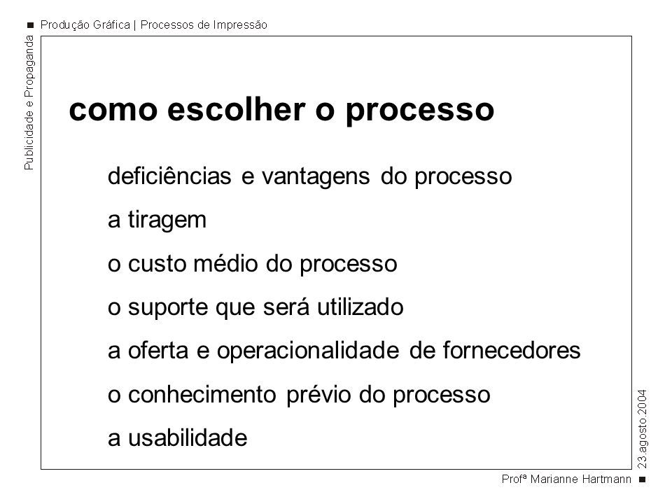 como escolher o processo