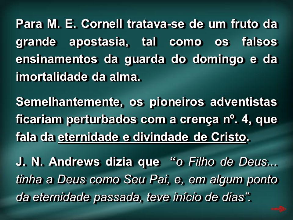 Para M. E. Cornell tratava-se de um fruto da grande apostasia, tal como os falsos ensinamentos da guarda do domingo e da imortalidade da alma.