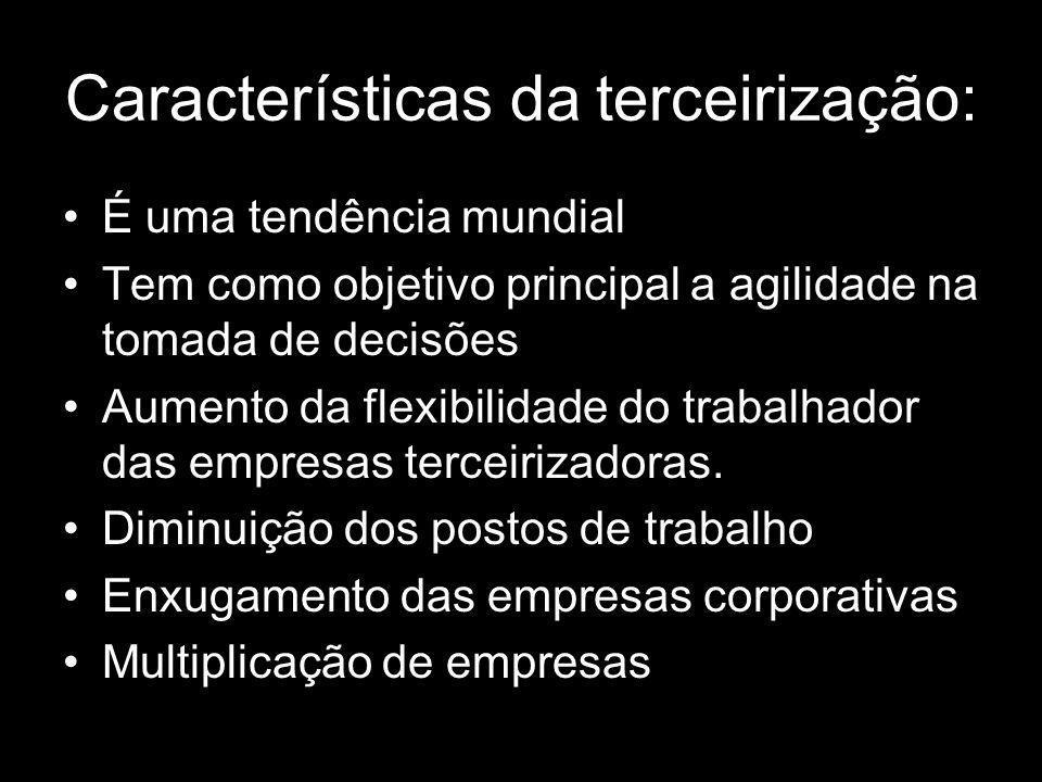 Características da terceirização: