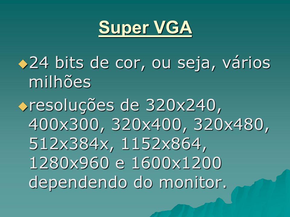 Super VGA 24 bits de cor, ou seja, vários milhões