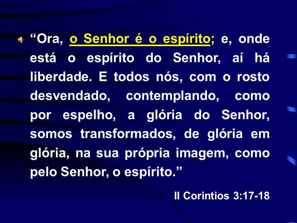 Ora, o Senhor é o espírito; e, onde está o espírito do Senhor, aí há liberdade. E todos nós, com o rosto desvendado, contemplando, como por espelho, a glória do Senhor, somos transformados, de glória em glória, na sua própria imagem, como pelo Senhor, o espírito.
