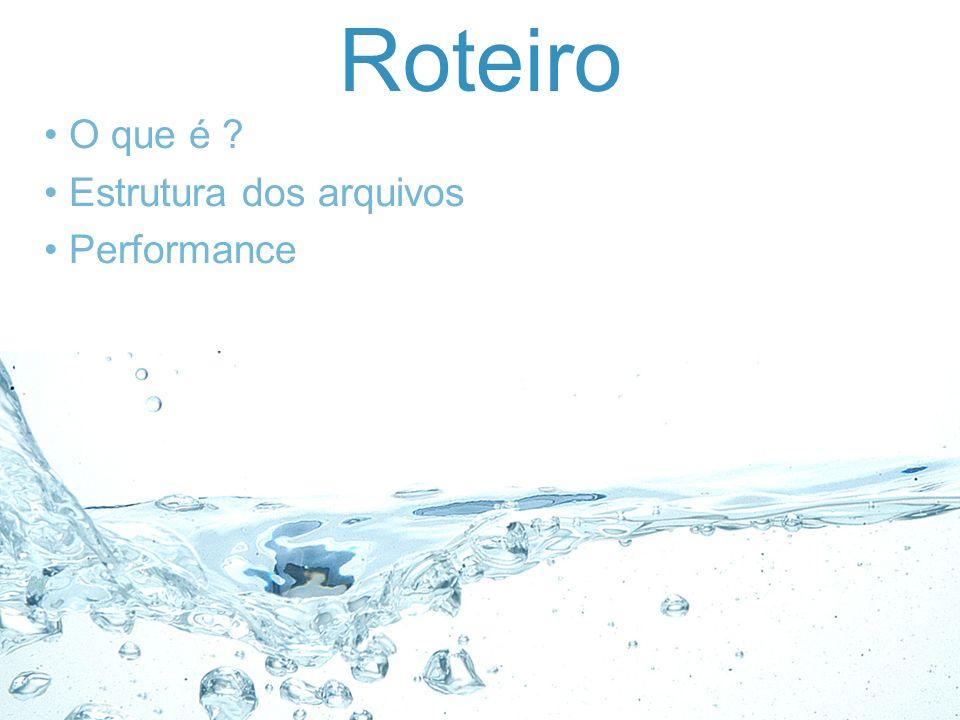 Roteiro O que é Estrutura dos arquivos Performance